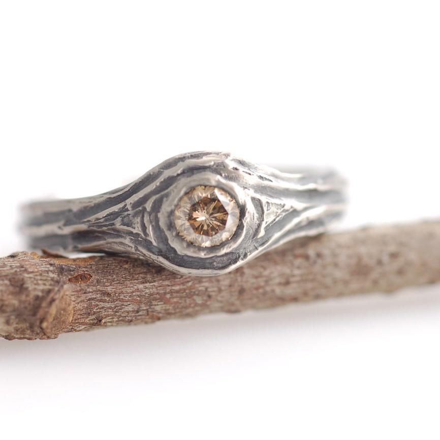Palladium White Gold and Brown Diamond Tree Bark Ring - nature inspired wedding ring by Beth Cyr