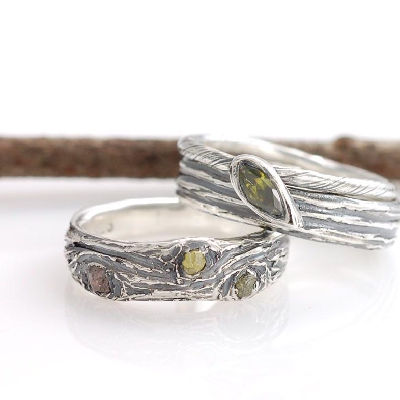 Tree Bark Rings in palladium sterling silver with rough diamonds and olivine cz - nature inspired wedding and engagement rings by Beth Cyr