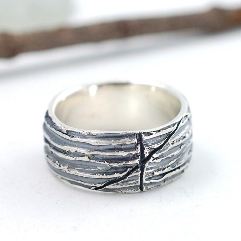 Custom Tree Bark Ring with markings - nature inspired ring by Beth Cyr