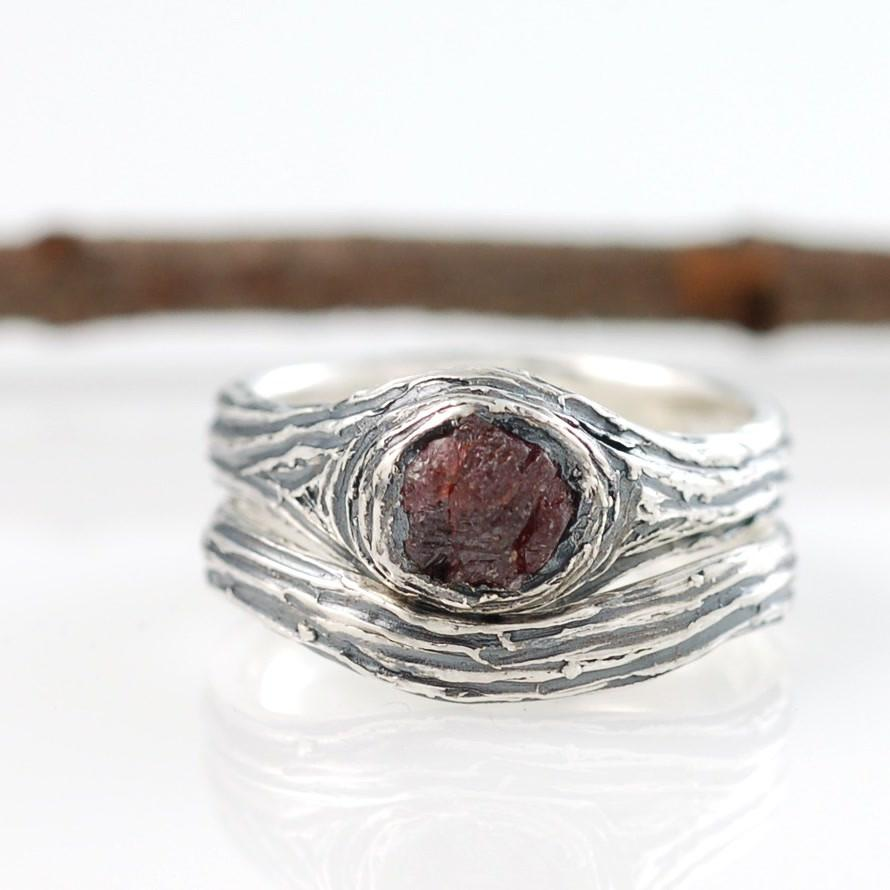 Sterling Silver and Rough Ruby Tree Bark Rings - nature inspired wedding and engagement ring by Beth Cyr