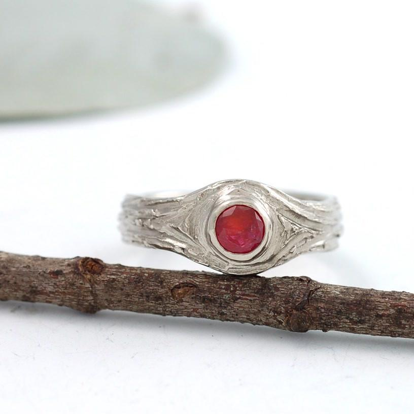 14k Palladium White Gold Tree Bark Love Knot with Ruby - nature inspired engagement ring by Beth Cyr