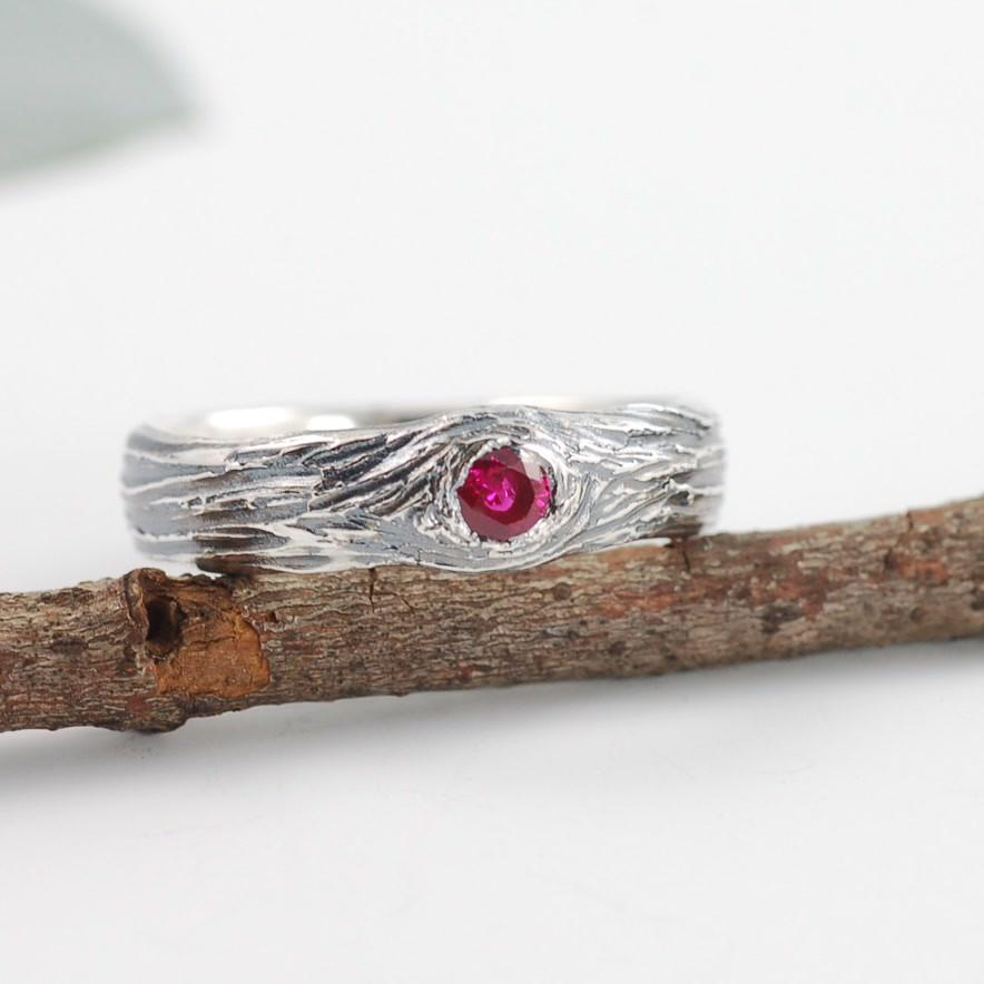 Palladium Sterling Silver Tree Bark Love Knot with Ruby - nature inspired engagement ring by Beth Cyr