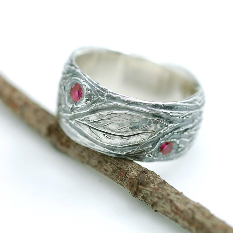 Sterling Silver Tree Bark and Leaf with synthetic Ruby wedding ring by Beth Cyr