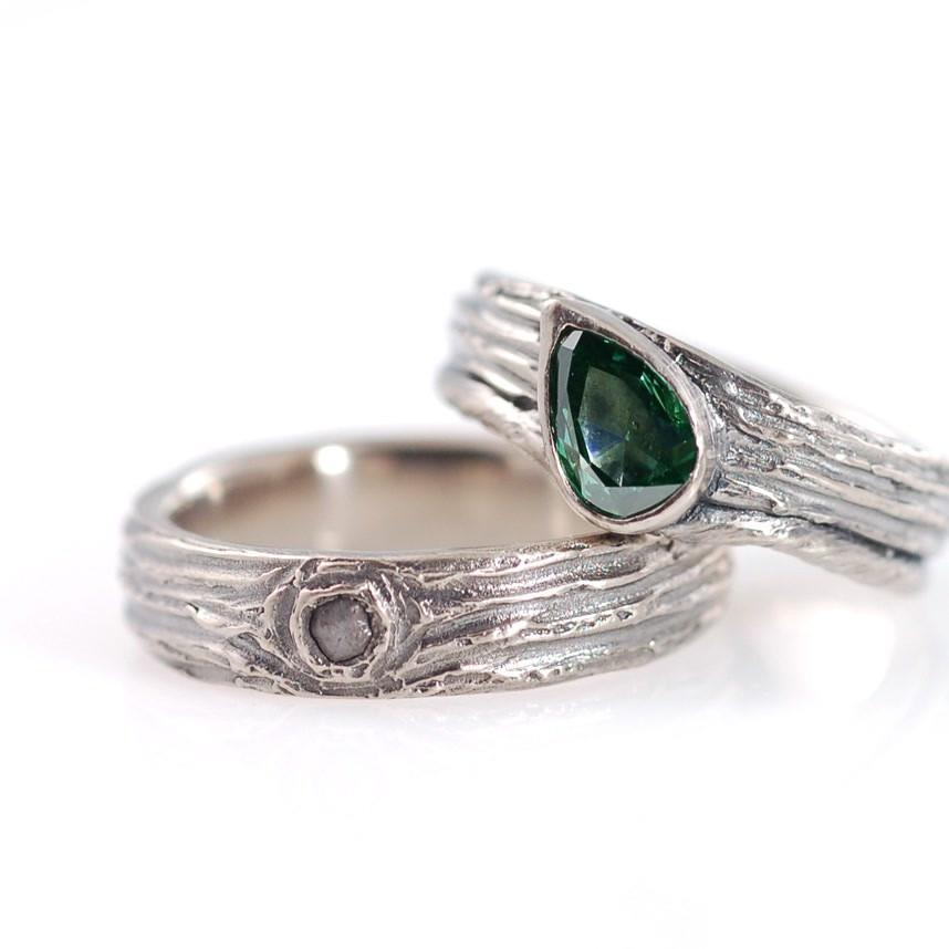 Custom tree bark and vine wedding band with green diamond and rough diamond in palladium white gold  by Beth Cyr
