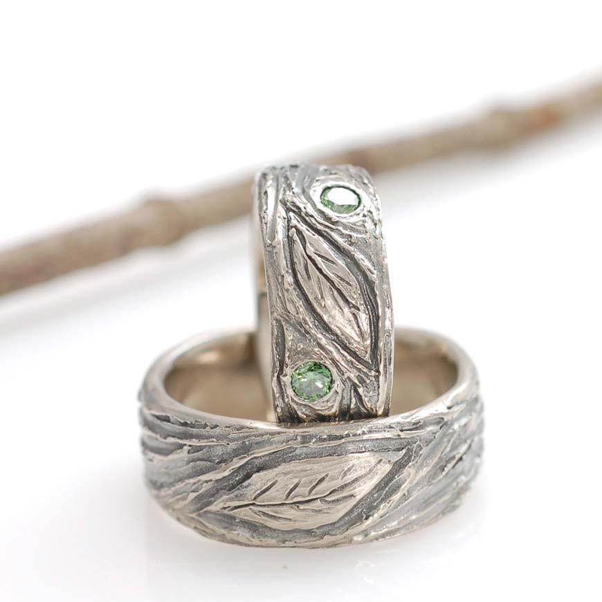 Large Leaf motif with green diamonds in palladium white gold - nature inspired wedding rings by Beth Cyr