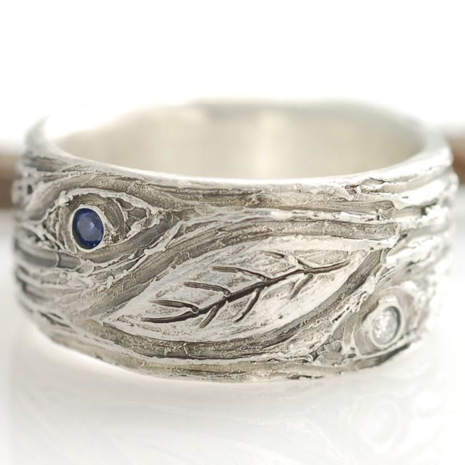 Palladium Sterling Silver tree bark and leaf ring with sapphire and diamond - nature inspired wedding ring by Beth Cyr