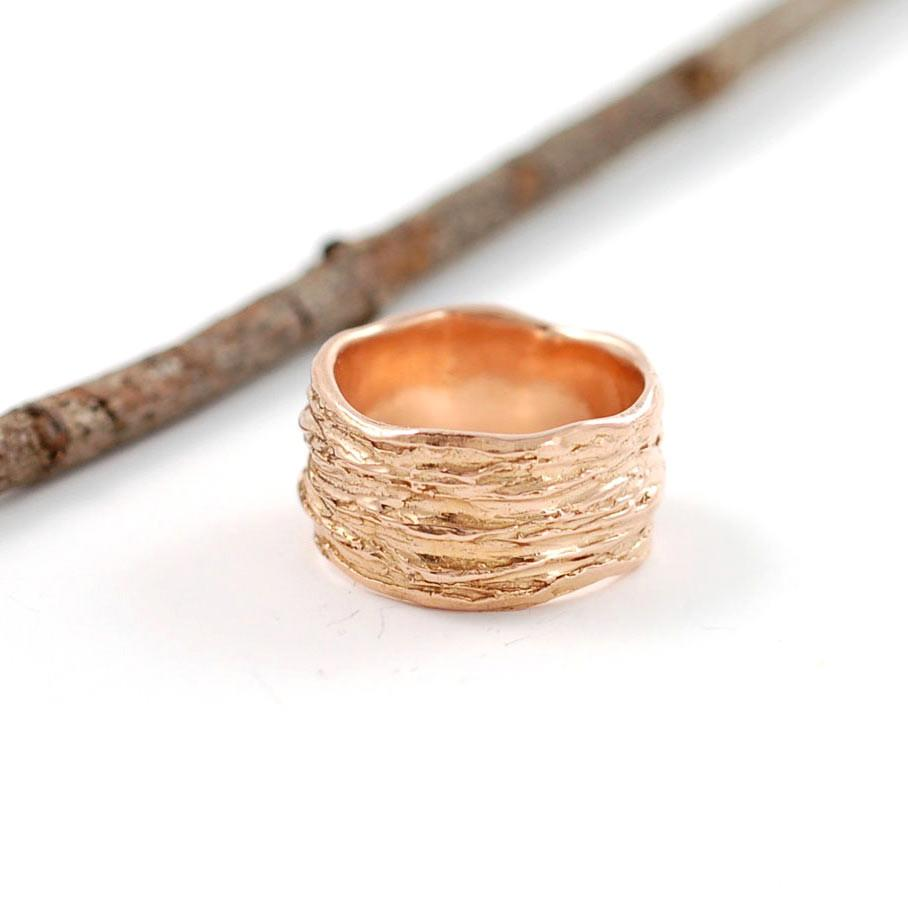 18k Rose Gold Redwoods Tree Bark Ring - nature inspired wedding band by Beth Cyr