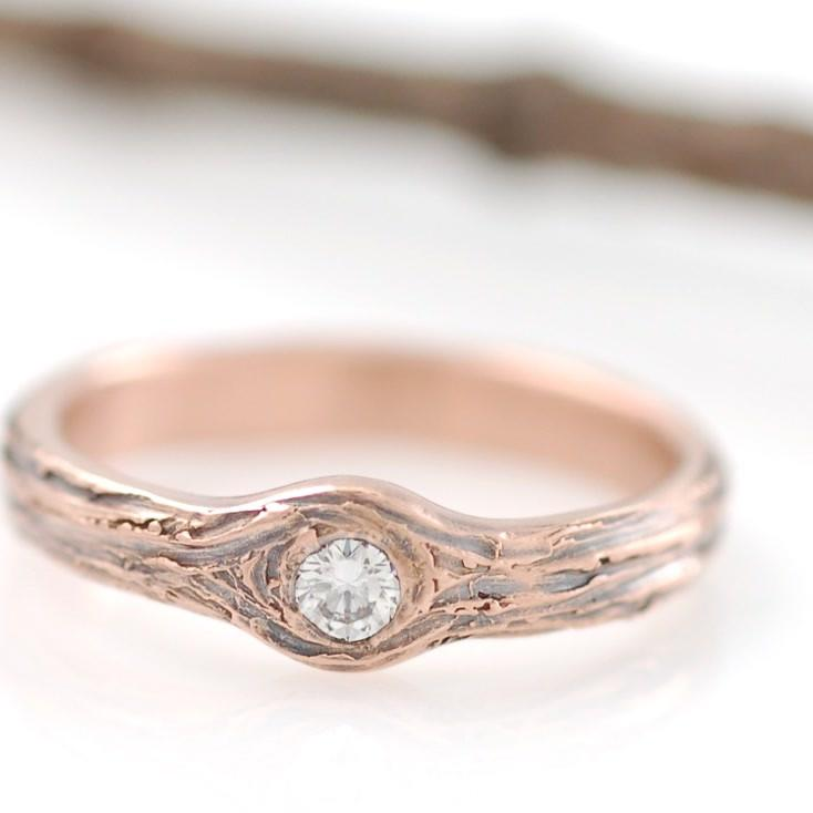 14k Rose Gold Tree Bark Ring with diamond - nature inspired engagement ring by Beth Cyr
