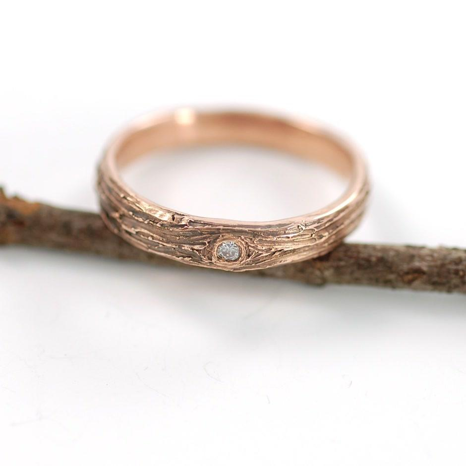 14k Rose Gold Tree Bark Ring with diamond - nature inspired wedding ring by Beth Cyr