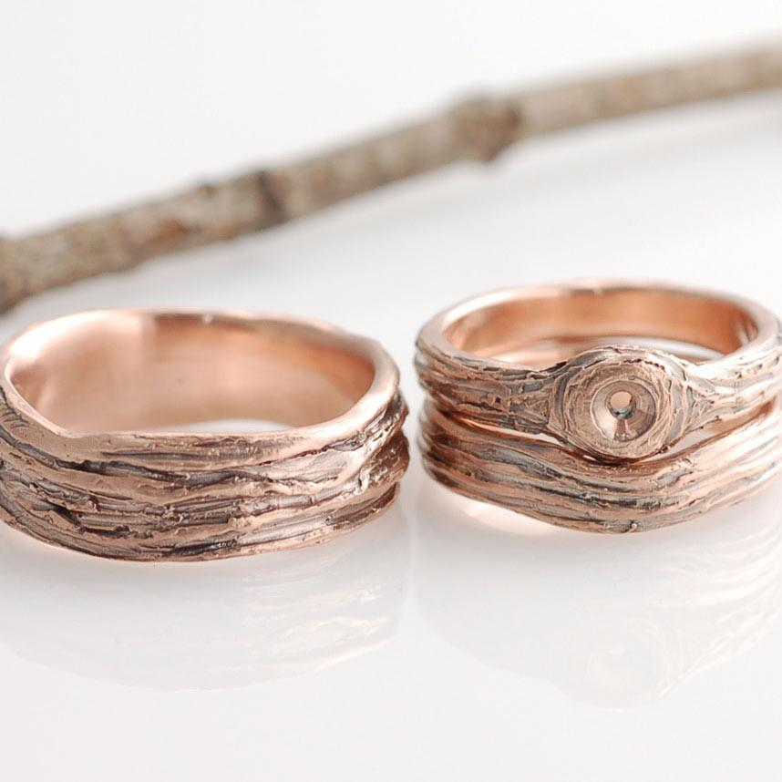 Rose Gold Tree Bark wedding and engagement Rings - custom order for customer's diamond by Beth Cyr