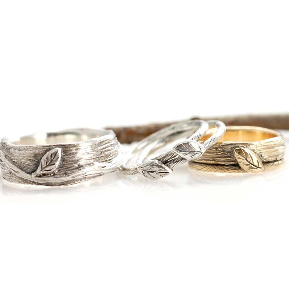 Vine and Leaf Rings in palladium sterling silver and 14k yellow gold - nature inspired rings by Beth Cyr