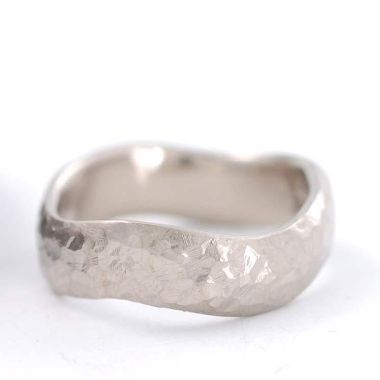 Wavy Love Rocks textured ring in 14k palladium white gold - nature inspired wedding ring by Beth Cyr