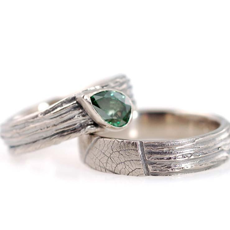 Custom tree bark and vine with green diamond in palladium white gold - nature inspired rings by Beth Cyr