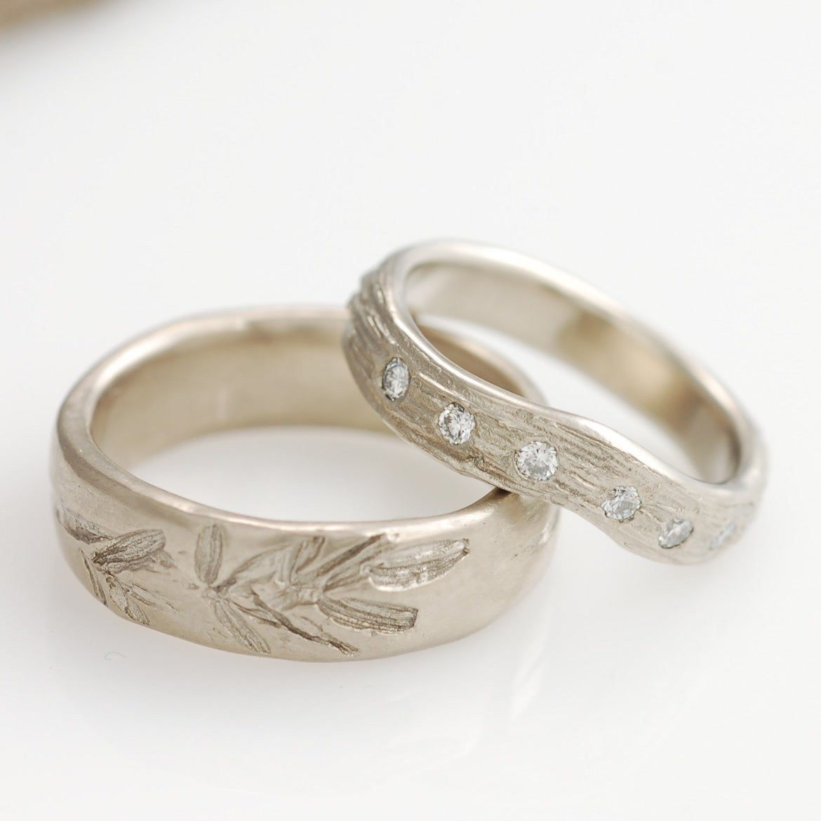 14k palladium white gold wedding bands - custom order plant motif and diamonds in tree bark by artisan jeweler Beth Cyr