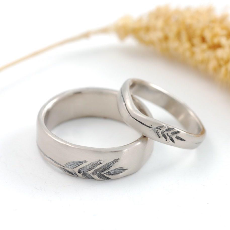 Custom Order Wheat motif wedding rings in 14k palladium white gold - nature inspired wedding rings by Beth Cyr