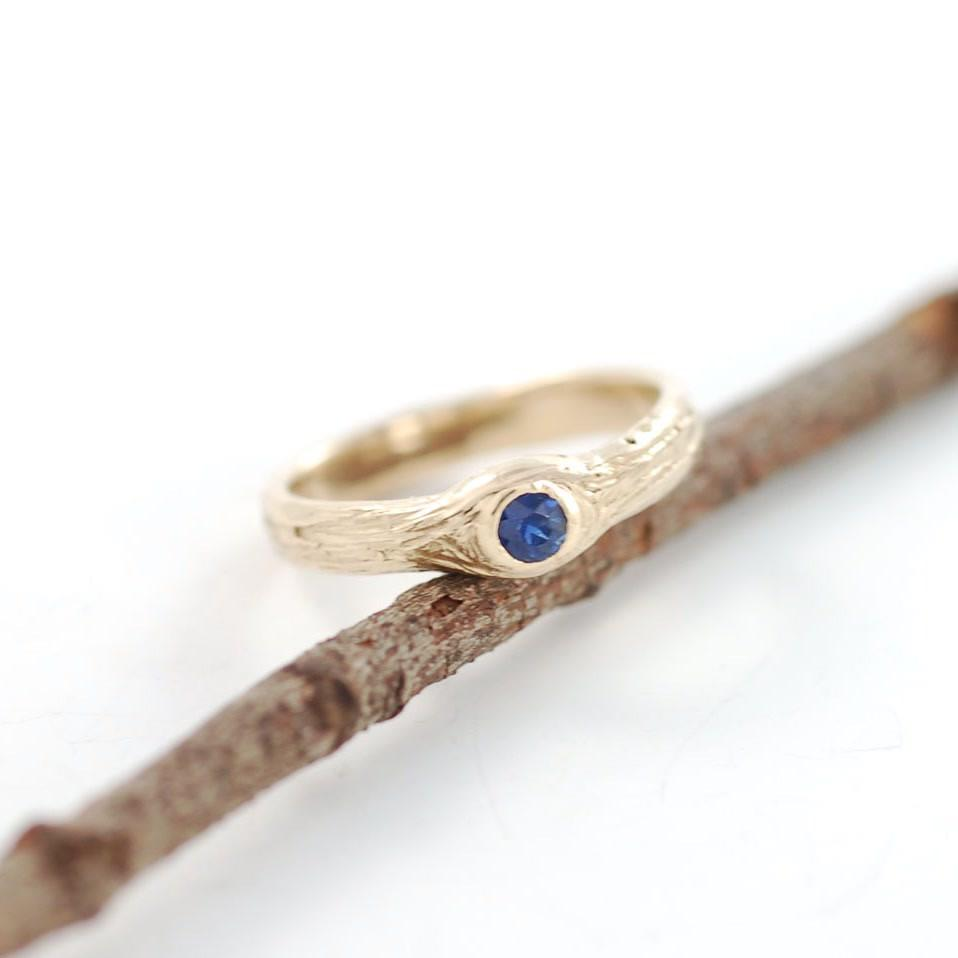 14k yellow gold tree bark love knot with sapphire - nature inspired engagement ring by Beth Cyr