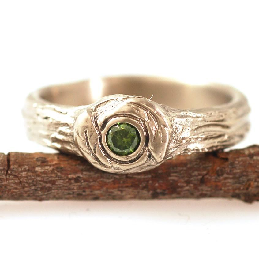 Green Diamond Love knot ring with leaves and tree bark texture in 14k palladium white gold by Beth Cyr