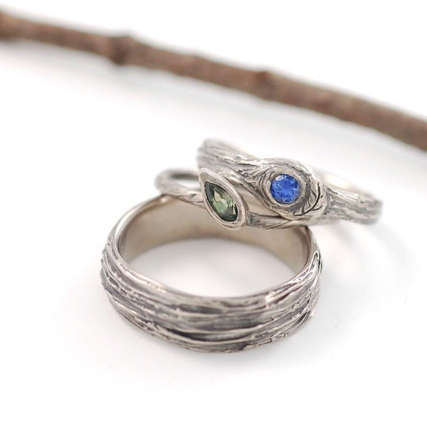 Custom Palladium white gold tree bark, vine and leaf with green and blue sapphires - nature inspired rings by Beth Cyr