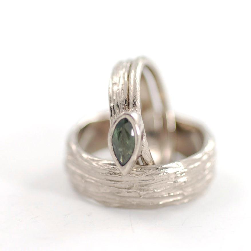 Custom Tree Bark and Vine and Leaf Rings in Palladium White Gold with Sapphire - nature inspired rings by Beth Cyr