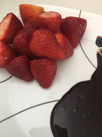 Carob Sauce Dipped Strawberries