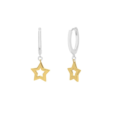 Boh Runga - Super Star Huggie Silver & 14ct gold plate earrings
