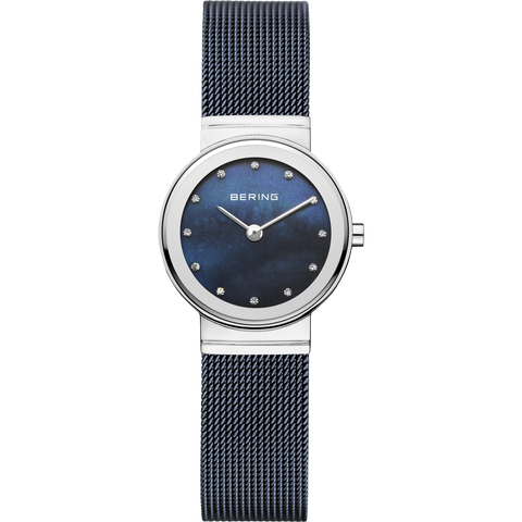 Bering Ladies Steel & Blue Mesh Watch 10126-307