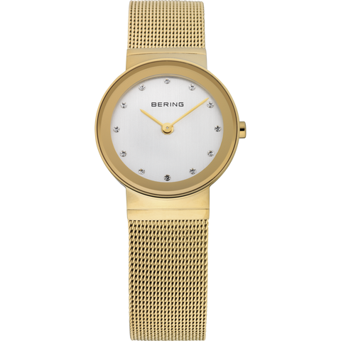 Bering Ladies Gold Mirror Border Mesh Watch 10126-334
