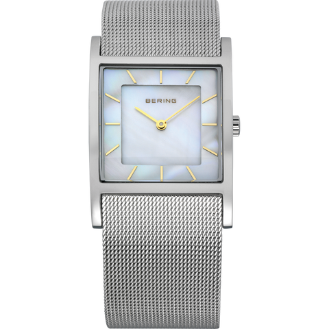 Bering Ladies Square Mother Of Pearl & Stainless Steel Mesh Watch 10426-010