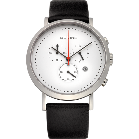 Bering Gents SS Multifunction White Dial Black Leather Watch 10540-404