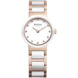 Bering Ladies White Ceramic & Rose Watch 10725-766