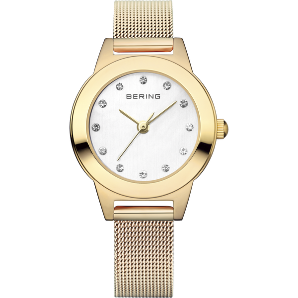Bering Ladies Gold Watch With Mesh Band 11125-334