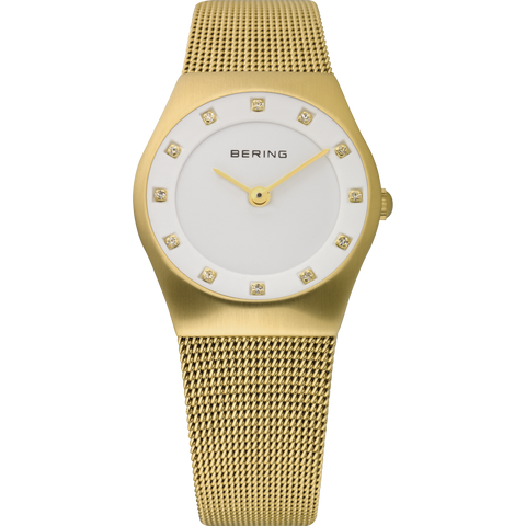 Bering Ladies Gold & White Mesh Strap Watch 11927-334