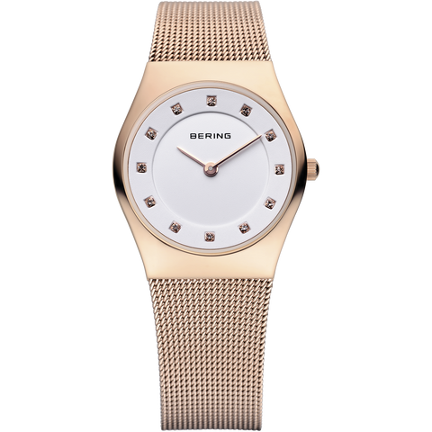 Bering Ladies Rose Gold & Swarovski Elements Mesh Strap Watch 11927-366