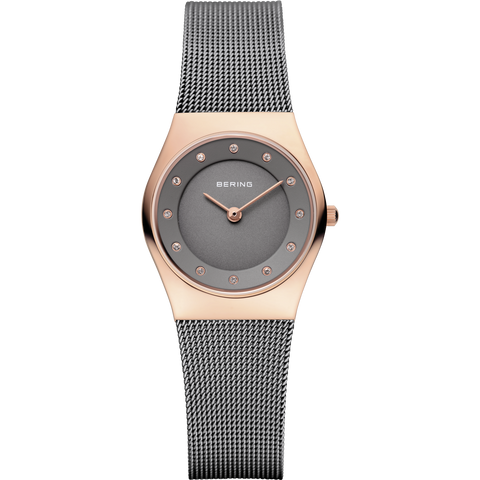 Bering Ladies Rose Gold, Grey Dial Mesh Strap Watch 11927-369