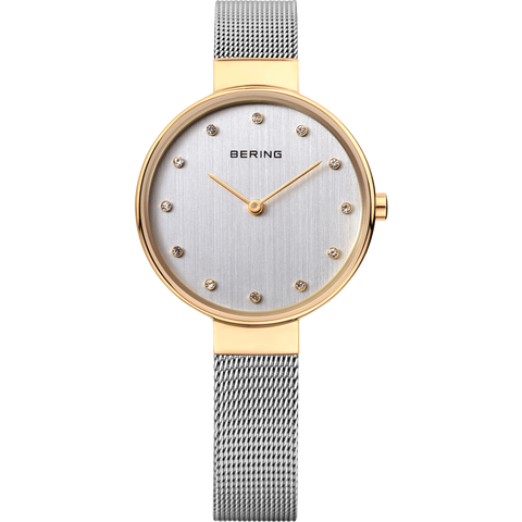 Bering Ladies Steel & Gold Narrow Mesh Watch 12034-010