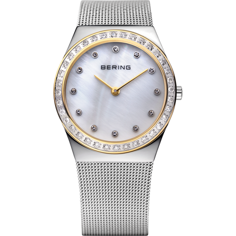 Bering Ladies Bi Colour Watch With Crystals & Silver Dial 12430-010