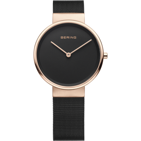 Bering Ladies Rose & Black Mesh Watch 14531-166