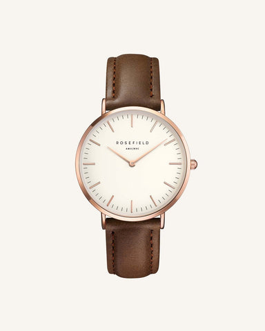 "Rosefield"" The Bowery Brown & Rose Gold Watch"" BWBRR-B3"