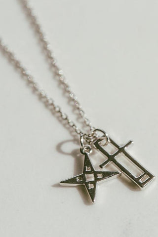Lindi Kingi Star Crossed Lovers Necklace - Platinum Plate