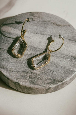 Lindi Kingi Hoop & Crystal Earrings - Gold Plate