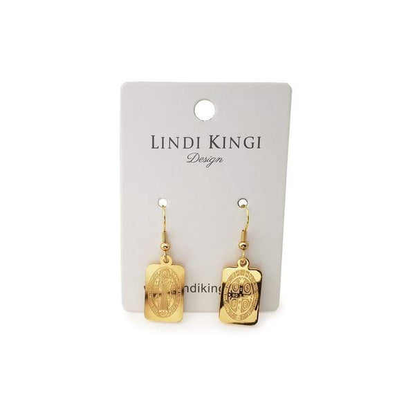 Lindi Kingi Saint Charm Earrings (Rectangle) - Gold Plate