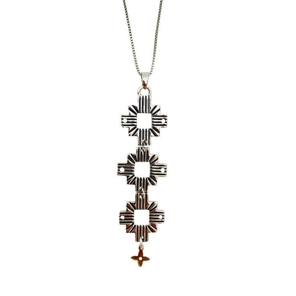 Lindi Kingi Aztec Necklace - Silver Plate