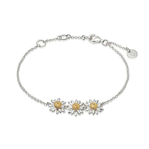 Daisy London -10mm Three English Daisy Chain Bracelet Silver