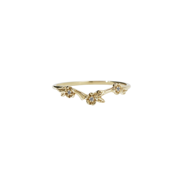 Meadowlark 9ct Yellow Gold Alba Band Stone Set- Grey Diamonds