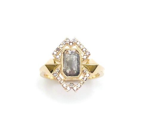 Nick Von K Emerald Cut Salt And Pepper Diamond Omnipresent Ring With Geometric Halo Of Light Grey Diamonds Set In 9ct Yellow Gold