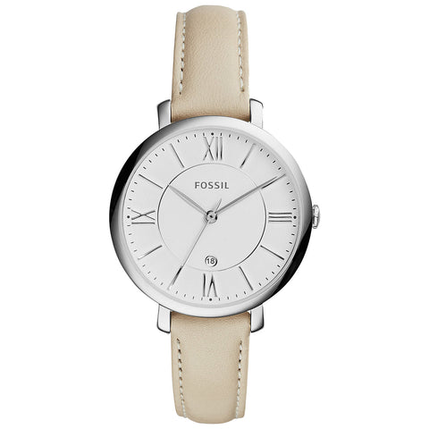 Fossil Women's Jacqueline White Leather Strap Watch 36mm ES3793