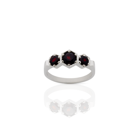 MEADOWLARK 3 HEXAGON STONE RING - STERLING SILVER & THAI GARNET
