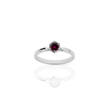 Meadowlark Hexagon Solitaire Ring - Rhodolite Garnet