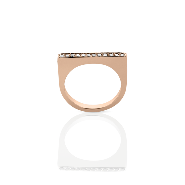 Meadowlark Fine Geometric Ring Flat - 9ct Rose Gold & White Diamond