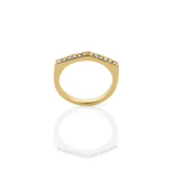 Meadowlark Fine Geometric Ring Arc - 9ct Yellow Gold & White Diamond